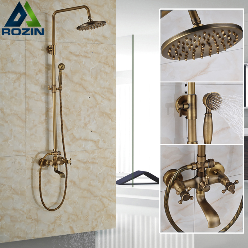 Euro Style Antique Bath Shower Faucet Kit Wall Mount Antique 8 Rainfall Shower Head Tub Filler Bath Shower Mixer Tap shower faucet wall mounted antique brass bath tap swivel tub filler ceramic style lift sliding bar with soap dish mixer hj 67040
