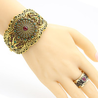 Vintage Bracelets For Women Flower Bangle Bracelet Antique Gold Color Resin Indian Jewelry Opera Ethnic Wedding