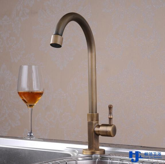 Brushed Brass Antique Kitchen Tap Faucet