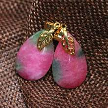 Factory outlet multicolor red jades chalcedony stone teardrop women fashion pendant weddings gift jewelry 15*25mm B1869