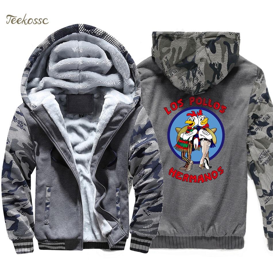 Breaking Bad Hoodie Men LOS POLLOS Hermanos Hooded Sweatshirt Chicken Brothers Coat 2018 Winter Thick Fleece Warm Hipster Jacket in Hoodies amp Sweatshirts from Men 39 s Clothing