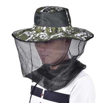 Tropic kapelusze lato szerokie rondo kamuflaż moskitiera na świeżym powietrzu czapka wędkarska pszczoła kapelusz latające owady zapobiegania czapka wiadro czapka z daszkiem tanie i dobre opinie WOMEN Parasolka Drukuj HE00021 COTTON multi tool survival kit sunshade face bee hat 106g
