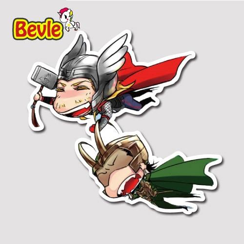 Bevle 9656 Avenger Super Hero Cute Thor Loki Fashion Badge Stickers Waterproof Tide 3M Sticker Fashion Skateboard Car Graffiti thor the mighty avenger