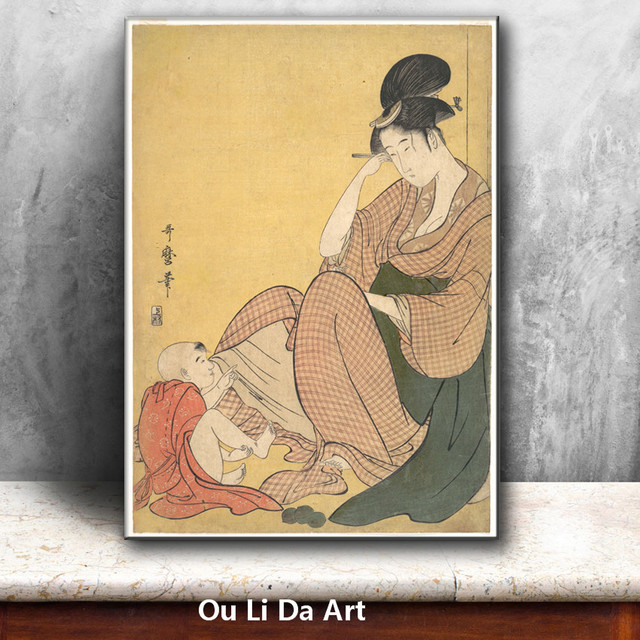 classical Japan kimono mother baby oil painting canvas painting ...