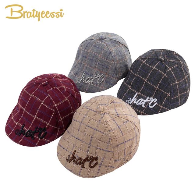 New Fashion Baby Hat for Boys Cotton Plaid Baby Boy Cap England Vintage Kids Beret Hat Infant Baby Accessories 1 PC
