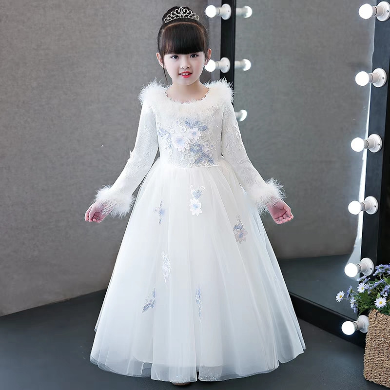 2018 Autumn Winter New High Grade Children Girls Birthday Wedding Party White Princess Lace Dress Model Catwalk Piano Prom Dress high neck flounce lace prom party dress