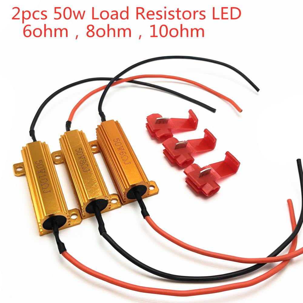 2pcs 50w 6ohm 8ohm 10ohm Load Resistors LED Flash Rate Turn Signals Light Indicator Controllers Brake Running Motorcycle