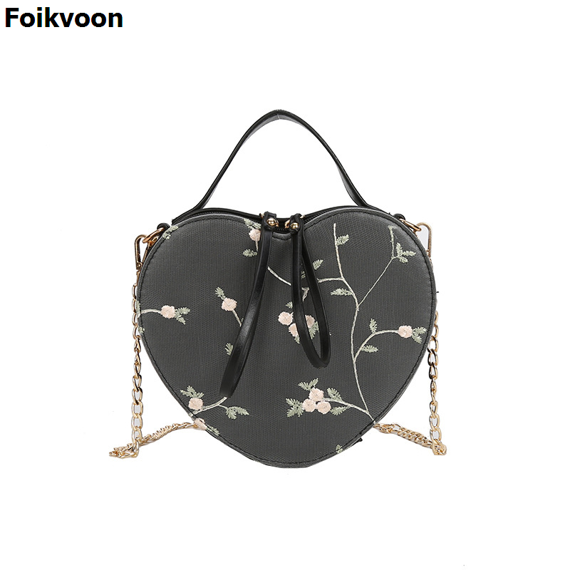 Foikvoon Heart Shape Bags For Girls PU Leather Solid Color Woman Crossbody Bag Fashion Popular Individuality Hangbags LadiesFoikvoon Heart Shape Bags For Girls PU Leather Solid Color Woman Crossbody Bag Fashion Popular Individuality Hangbags Ladies
