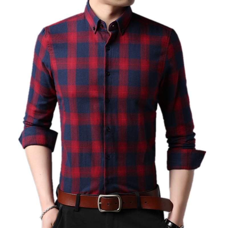 High Quality Plaid Shirt Men Brand Long Sleeve Casual Silm Fit Camisa Masculina Turn down Collar Formal For Shirts Men Clothing