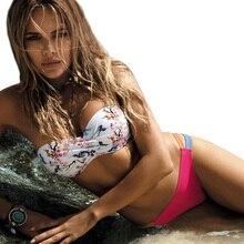 Women Push Up Rose Flora Bikini Beach Wear Maillot de bain Brazilian 2019 Sexy Retro Bandeau High Cut Halter Bathing Suit S-XL