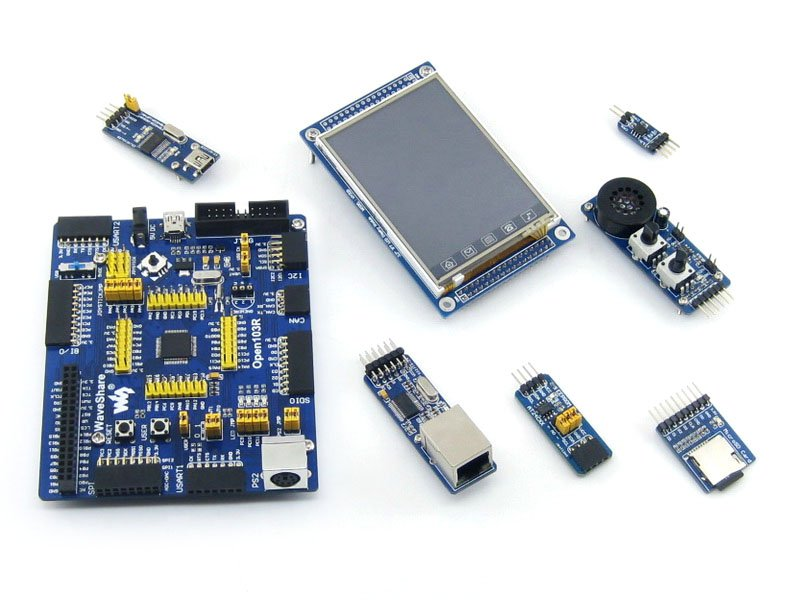 US $54 17 14% OFF|Waveshare STM32 Board STM32F103RCT6 STM32F103 ARM Cortex  M3 STM32 Development Board + 6 Accessory Module Kit =Open103R Package A-in
