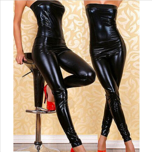 Women New DJ Costumes Nightclub Bar Pole Sexy Skinny Clothing Novelty PU Leather Jumpsuits
