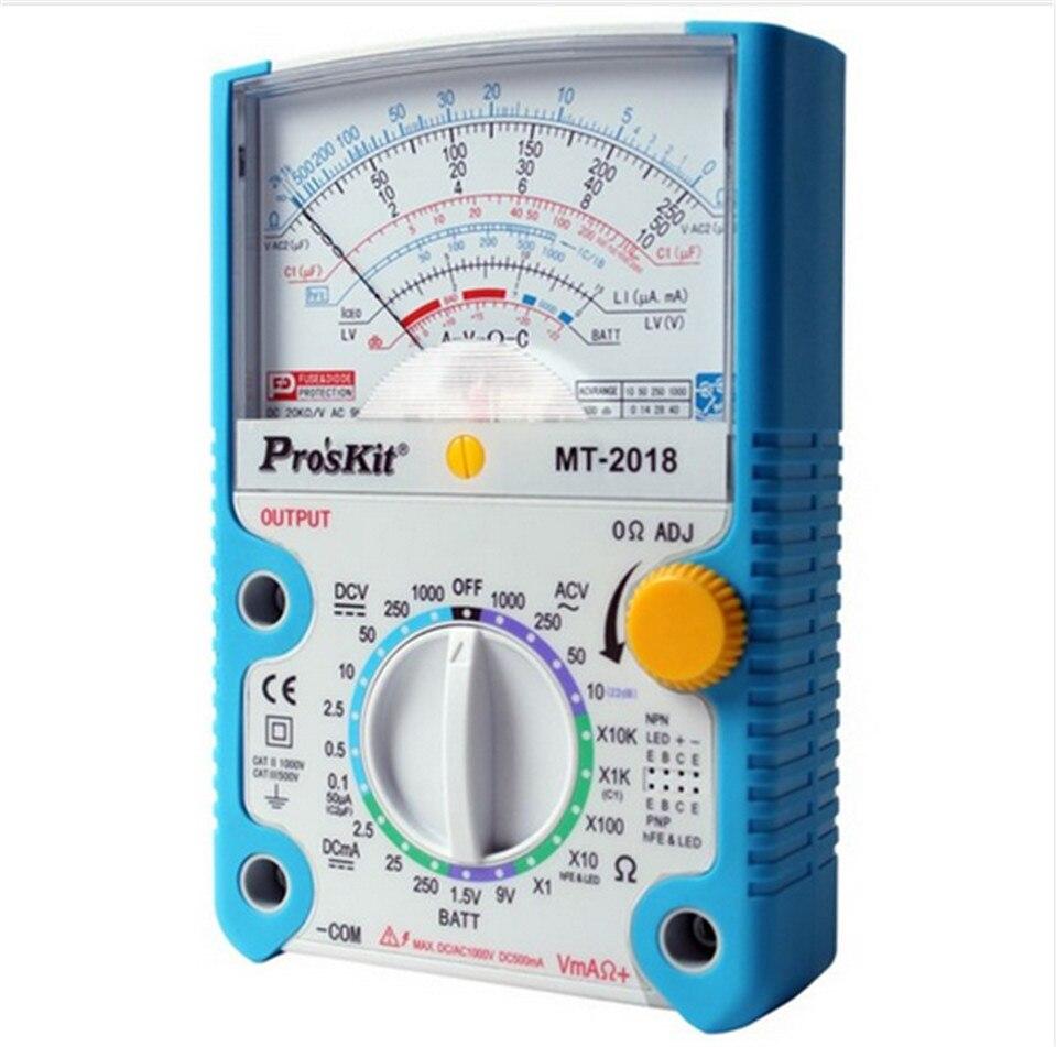 Livraison gratuite ProsKit MT-2018 fonction de protection analogique multimètre de sécurité Standard professionnel Ohm testeur de compteur de Test analogique