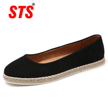 STS Brand Spring Women Flats Sneakers Ballet Flats Leather Suede Round Toe Shoes Laides Casual Mocassins Loafers Shoes for Woman czrbt sheep suede leather women flats spring crystal pearl dragonfly loafers women concise round toe shallow mouth flat shoes