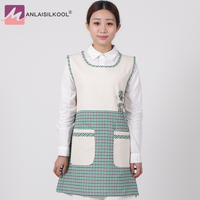 2017 Apron fashion korean apron bib aprons for woman sleeveless maid aprons Stain resistant barber apron green grid and flower