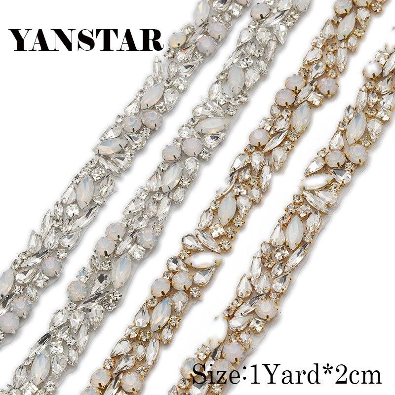 WENXI 10YARDS Wholesale Sparkle Crystal Rhinestone With opal For Wedding Sash Clear Silver Crystal Rhinestone Applique