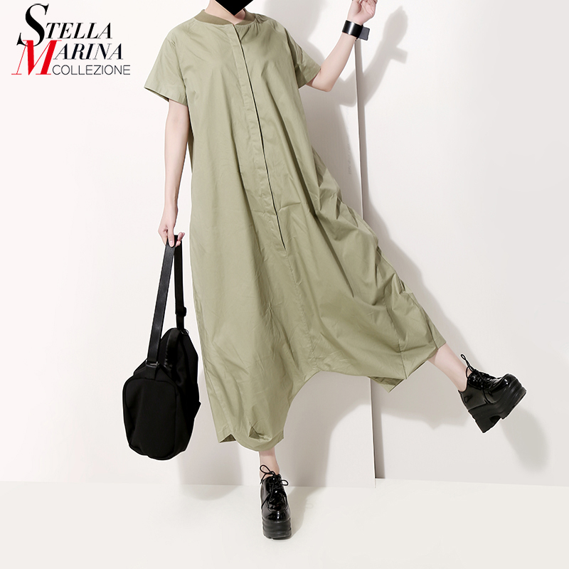 2019 Korean Style Women Summer Green Romper Jumpsuits Calf Length Pants Short Sleeve Lady Loose Casual Jumpsuit Playsuits 5130