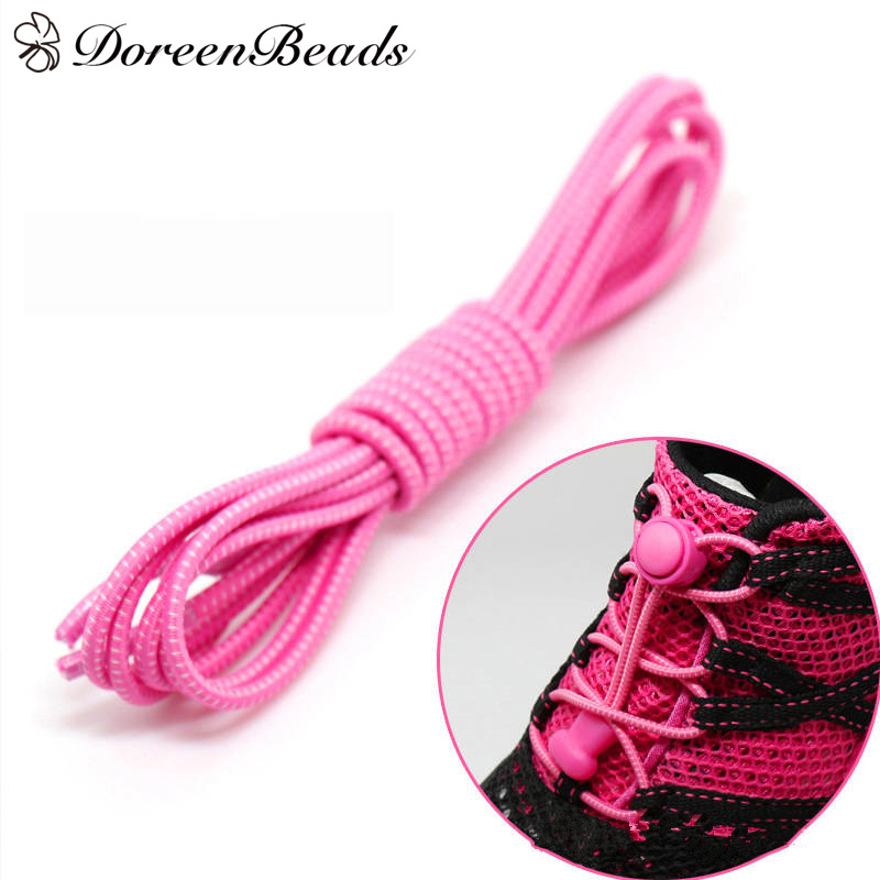 DoreenBeads Polyester Elastic Bands Shoelace New Design Twisted Boots Outdoor Sports Shoe Laces Fuchsia 100cm(39 3/8), 1 Pair