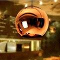 Globo Bola De Vidro Luzes Pingente Sombra Cobre Pingente Iluminação moderna Rodada Lâmpada Do Teto Pendurado luminária Cozinha Luminária