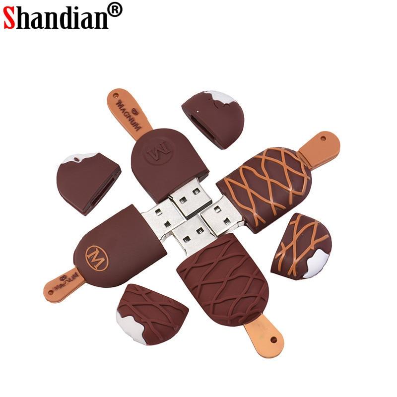 SHANDIAN Ice Cream Lovely Usb Flash Drive 64gb Pendrive 32gb 16gb Memory Stick High Quality Pen Drive 4gb U Disk Free Shipping