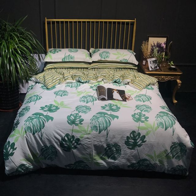 Usa Eropa Rusia Set Tempat Tidur King Size Cover Musim Semi Daun Bedding Seprai Hotel