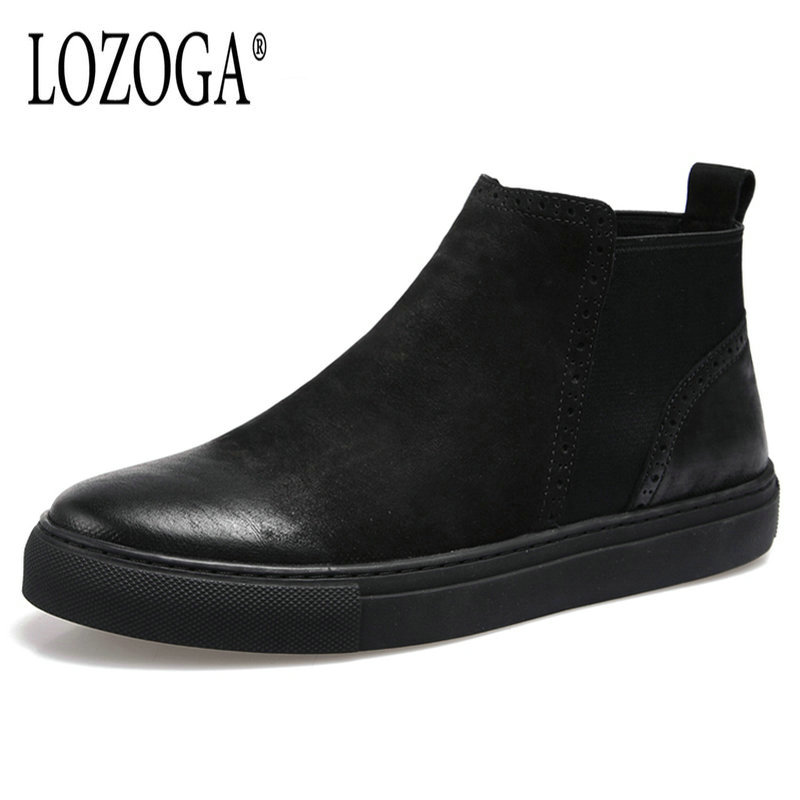 Lozoga 2018 Men Boots Spring Autumn Fashion Chelsea Boots Cow Suede Leather Boots Black Ankle Boots Slip On Retro Oxford Shoes martine women ankle boots flat with chelsea boots for ladies spring and autumn female suede leather slip on fashion boots