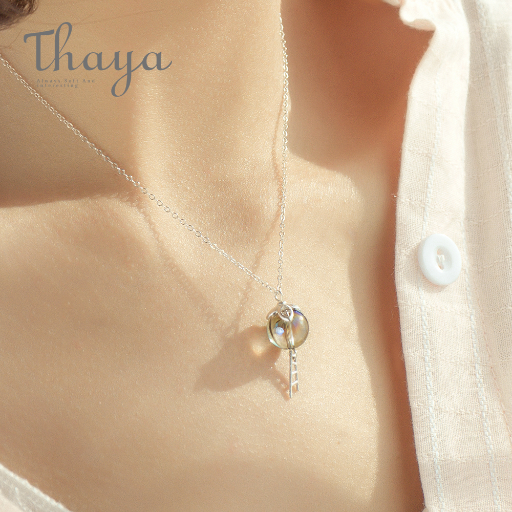 Thaya Original Elf House Design s925 Silver Window Necklace Colorful Crystal Bead Pendant Necklace for Women Classic JewelryThaya Original Elf House Design s925 Silver Window Necklace Colorful Crystal Bead Pendant Necklace for Women Classic Jewelry