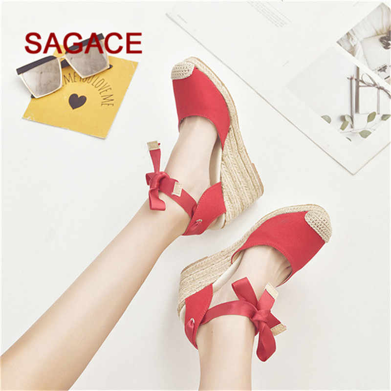 SAGACE 2019 גבירותיי טריז משאבות נשים אביב מזדמן טריז צלב רצועת גבוהה העקב פלטפורמת משאבת נעלי סנדלי Mujer