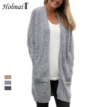 HOLMAI 2017 Autumn Winter Women Warm Long Sweaters Outerwear Coat Loose Solid Long Sleeve Casual Daily