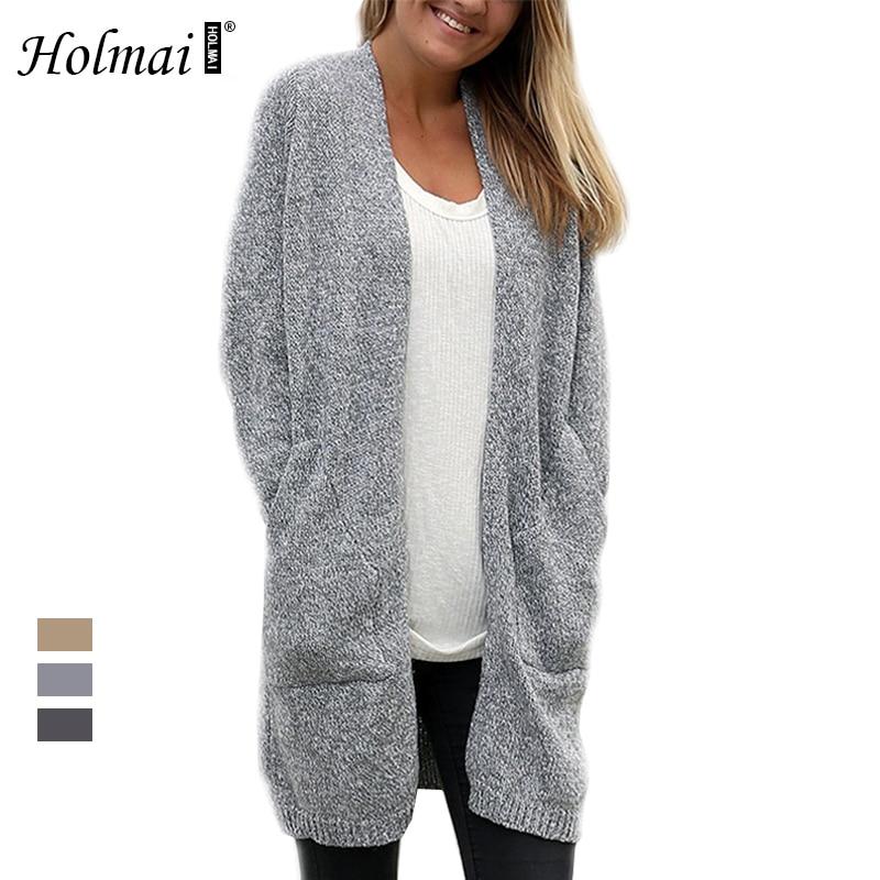 HOLMAI 2017 Autumn Winter font b Women b font Warm Long Sweaters Outerwear Coat Loose Solid