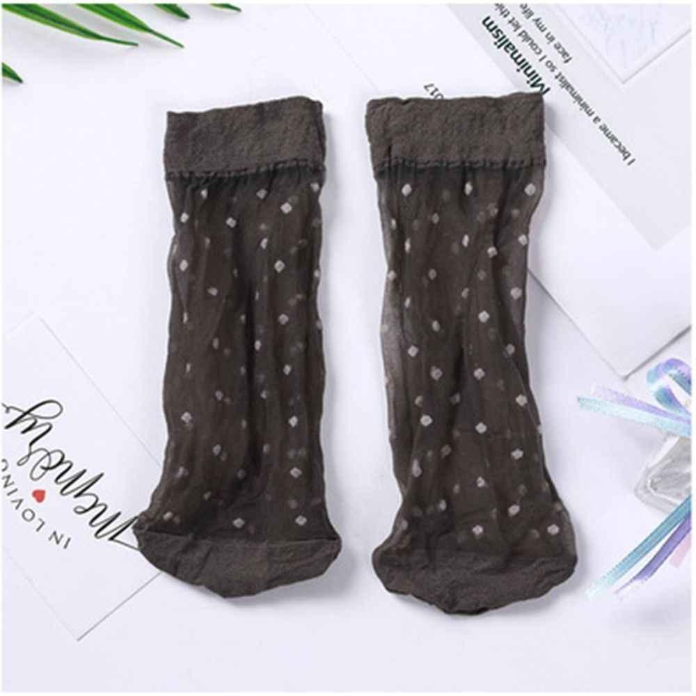 1 คู่ใหม่แฟชั่นผิวสี Dot โปร่งใสบางถุงเท้าผ้าไหมคริสตัลไนลอนแฟชั่นสุภาพสตรีฤดูร้อนสั้นข้อเท้าผ้าไหมถุงเท้า