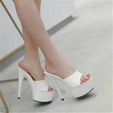 WADNASO Summer Elegant High Heels 15cm Fine Transparent Glass Slipper Shoes Heavy-bottomed Sandals Slippers Plus Size 34-43