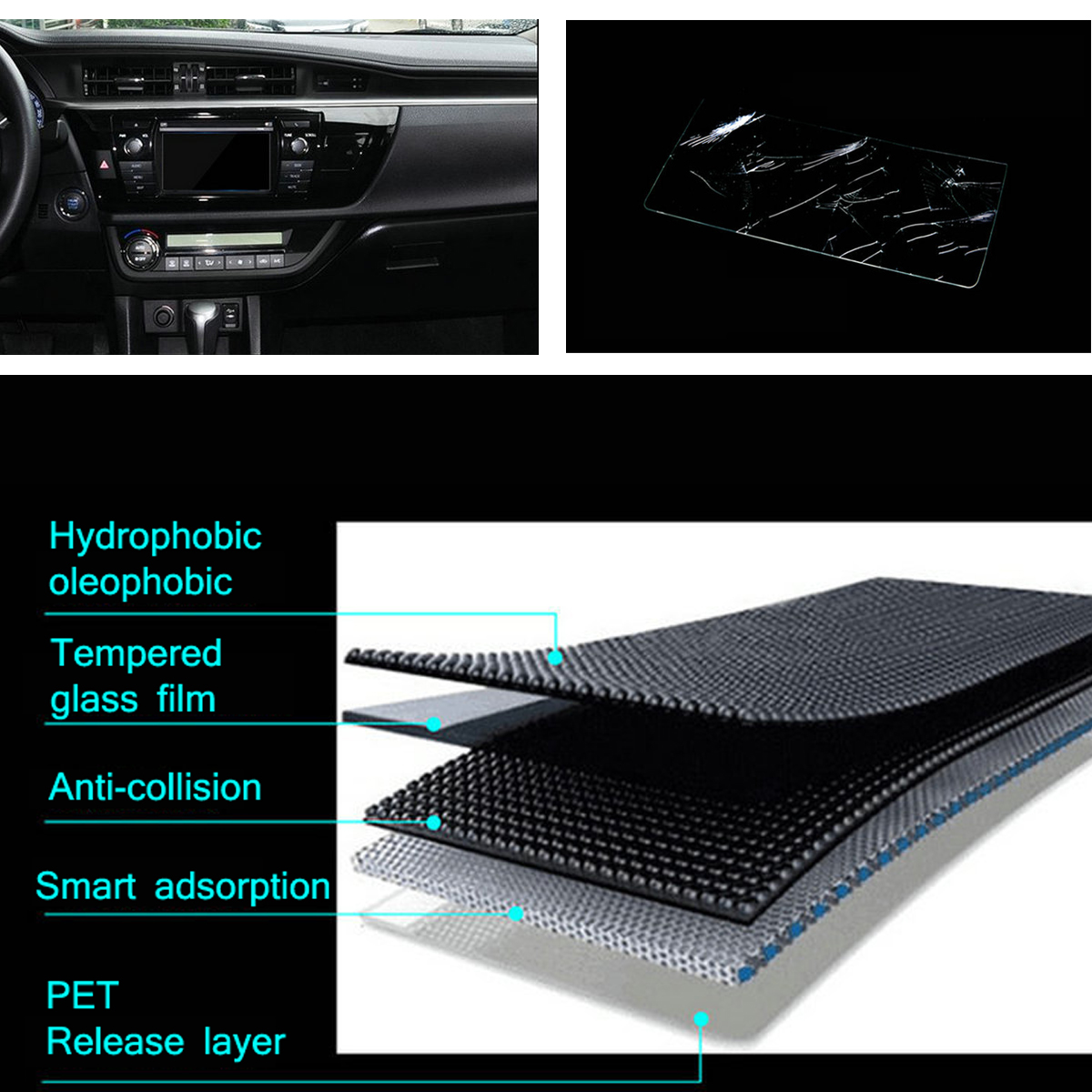 for Tesla Model S Model X Premium Glass Film 0.3mm Glass 17 inch for Car GPS PDA MP4 Video DVD Glass Screen Protector