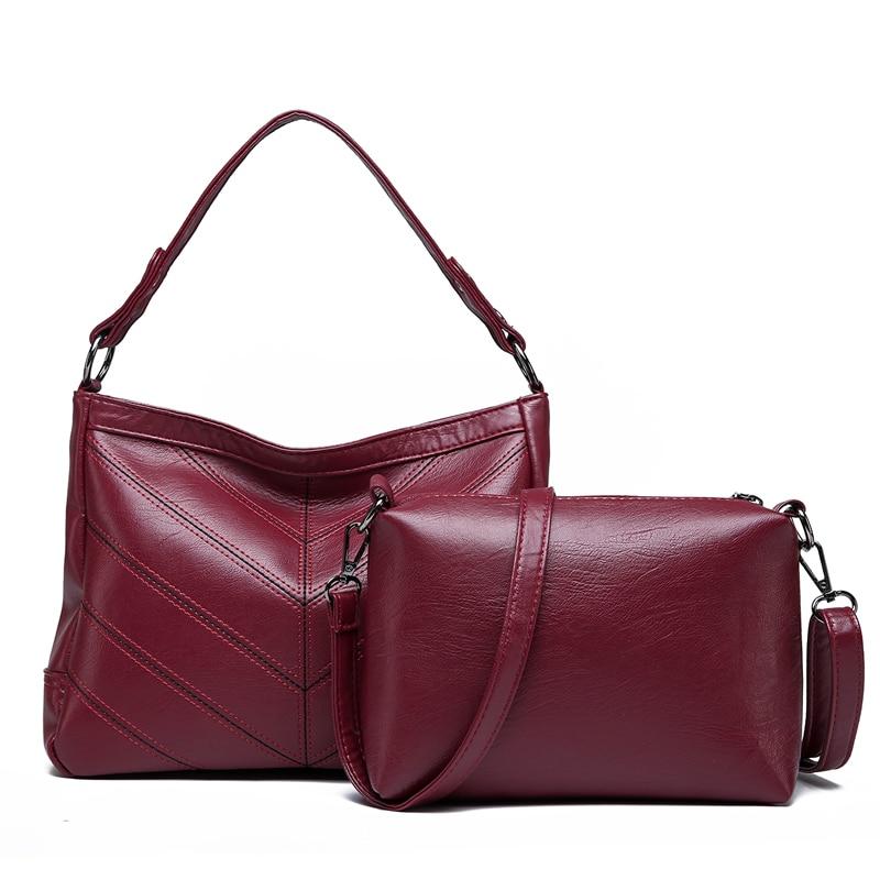 2Pcs/Set Vintage Women Soft PU Leather Shoulder Bag Composite Ladies Handbags Zipper Totes Bucket Hobo Bags Set Sac