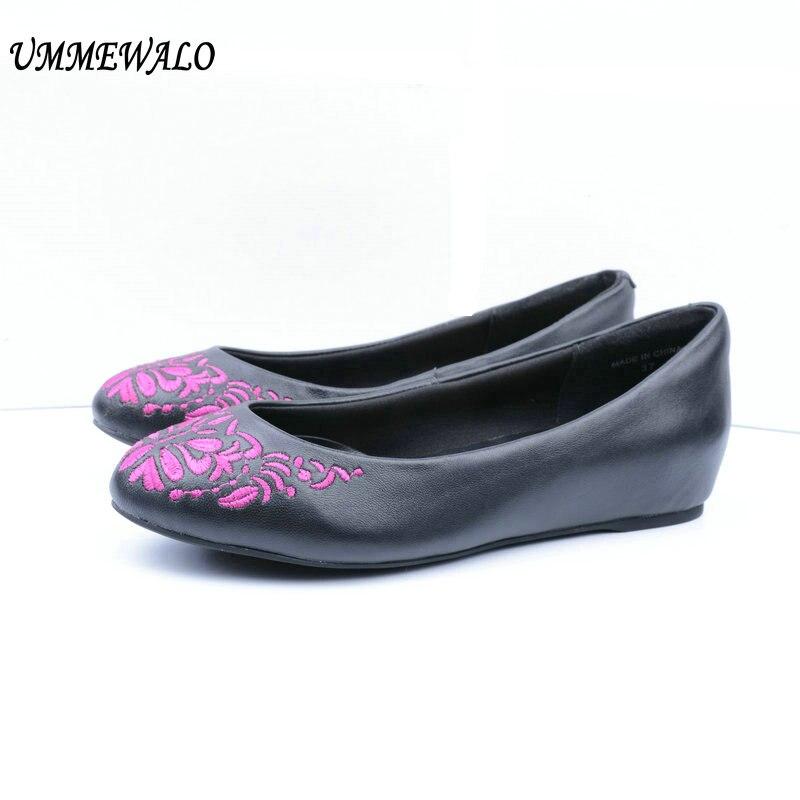 UMMEWALO chaussures plates femmes en cuir véritable appartements de mode qualité broderie ballerine Ballet chaussures dames chaussures décontractées