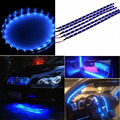 Envío libre Flexible los 30 cm Impermeable 15 LED Azul de Coches Vehículos de Motor Parrilla Tiras de Luz Flexible 12 V Venta Caliente