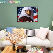 Aliexpress Value Set Sale 5pc/lot Diy Full Resin Round Diamond Painting Cross Stitch Embroidery Kit Eagle American Mosaic Hobby