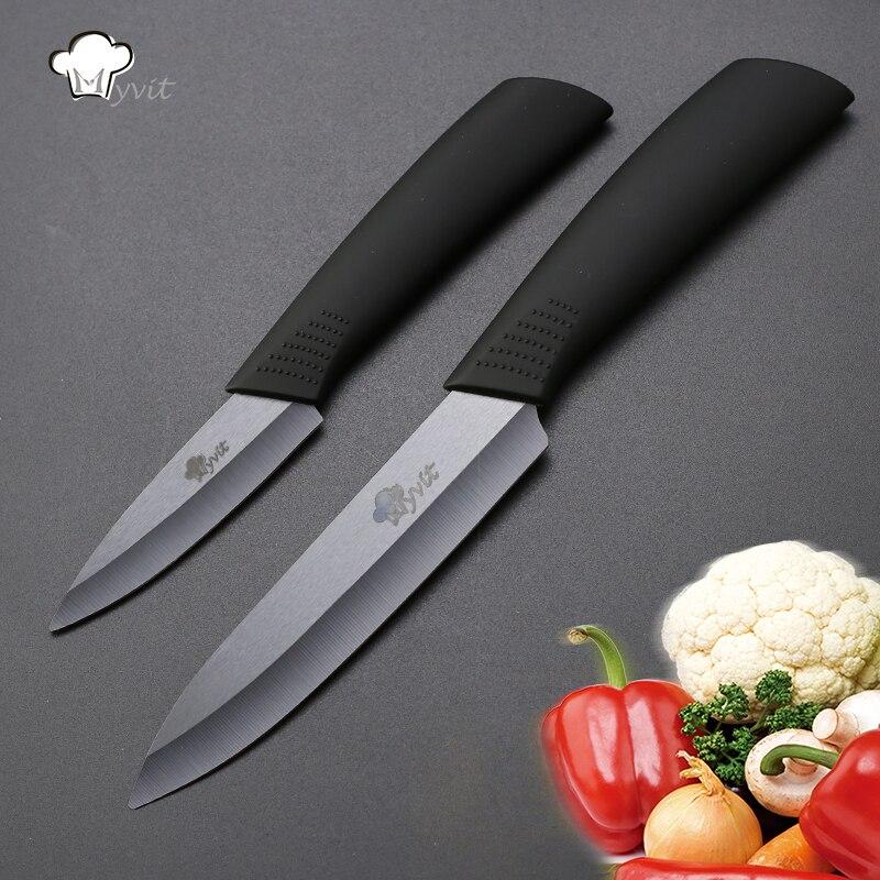 Брендовые Кухонные керамические ножи Myvit, 3 дюйма, для очистки овощей, 5 дюймов, керамический нож, черное лезвие, кухонные ножи, инструменты дл...