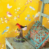 Yellow Blue Cream White Rustic Branch Bird Wallpaper Nature Chinese Wallpapers Wall Paper Home Decor Ideas