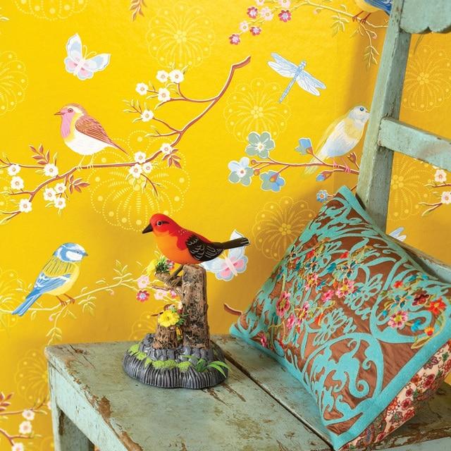 Yellow, Blue,Cream White Rustic Branch Bird Wallpaper Nature Chinese ...