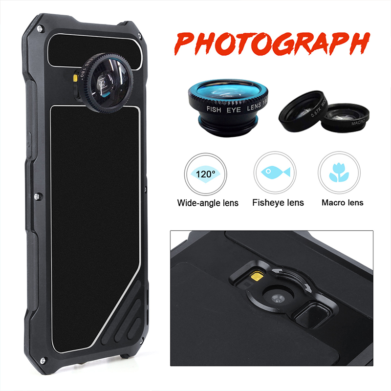 For Samsung Galaxy S8 Plus Armor case Powerful Metal Aluminum anti knocked Case Life Waterproof Wide angle Fish eyes Micro Lens