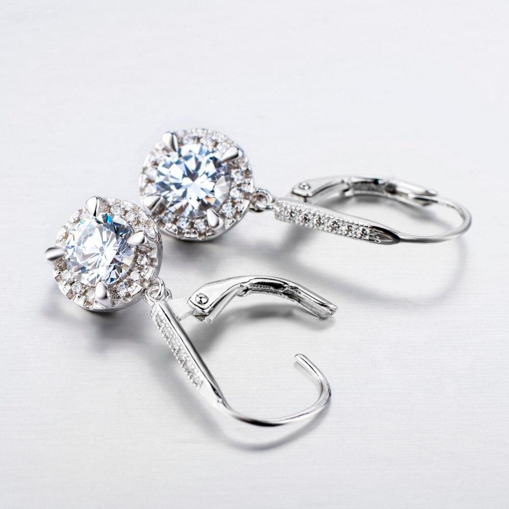 YFN Echt 925 Sterling Silber Kristall Ohrringe Modeschmuck Weiß - Modeschmuck - Foto 3