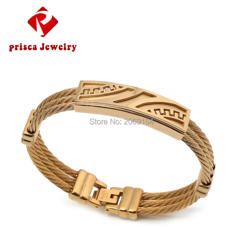 Mens Gold Charm Bracelet Fashion Jewelry Clic Stainless Wristband Alloy Material Anium Steel Bangle Finest In Bangles From