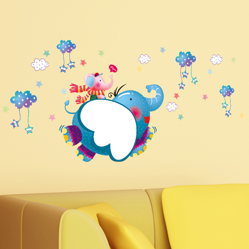 132x50cm Elephant white clouds Star stickers erasable writing ...