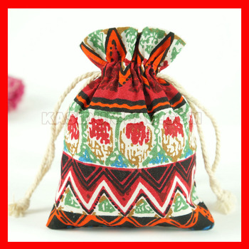 100pieces/lot small drawstring linen cotton fabric gift shopping bags