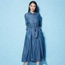 цены 2018 Spring new arrival women's fashion denim dress girdle waist long soft lyocell fiber dress NW18A1787