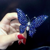 blue color 925 sterling silver with cubic zircon butterfly brooch pins fashion women jewelry free shipping pendant