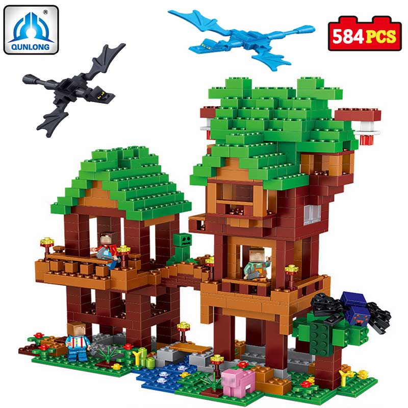 584pcsVillage Building Blocks Compatible Lepin Boy Girl Toys Compatible Legoe Minecraft City Bricks DIY For Children Friends Gif ausini95 automatic rifle military arms building blocks educational toys for children plastic bricks best friend legoe compatible