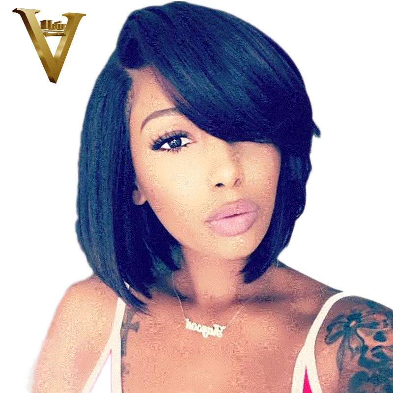 Straight Brazilian Lace Front Human Hair Wigs For Women Remy Hair Pre Plucked Short Bob Wig
