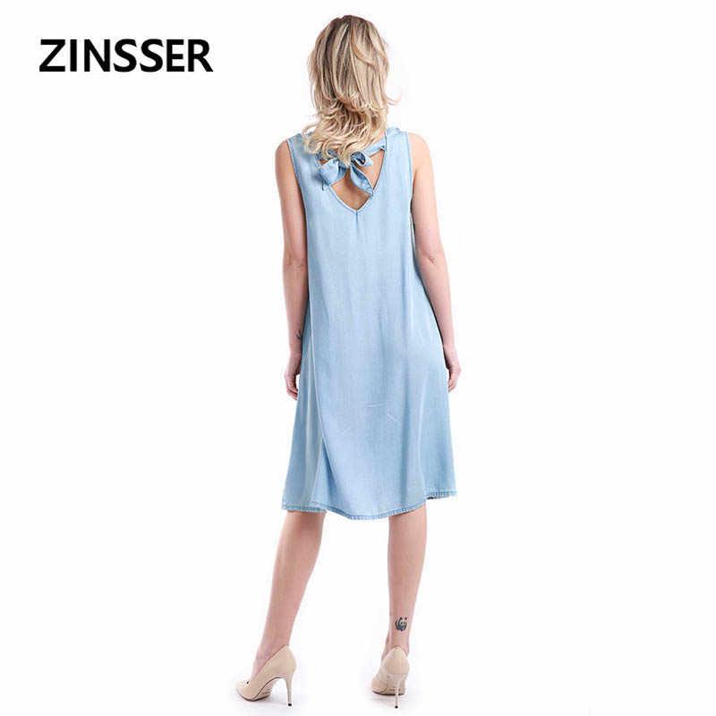 Женское джинсовое нарядное платье Свободная Повседневная без рукавов 100% Tencel потертое синее женское платье
